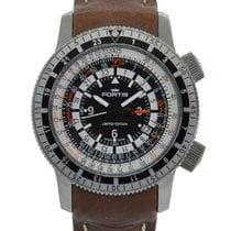 Fortis B-47 Calculator Gmt Stainless Steel Black White Dial On...