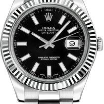 Rolex Datejust II Steel White Gold Bezel Black Dial 41mm (Ful...