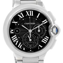 Cartier Ballon Bleu Xl Black Dial Cronograph Steel Mens Watch...