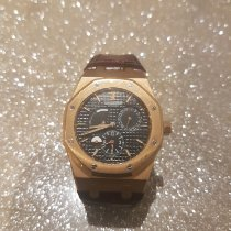 Audemars Piguet Rose gold Automatic Black No numerals 39mm pre-owned Royal Oak Dual Time