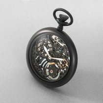 NOVY POCKET  WATCH LEPINE  ALLBLA CK SKELETTON SWISS MADE