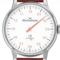 Meistersinger 1Z Einzeigeruhr Stahl Automatik Armband Leder...