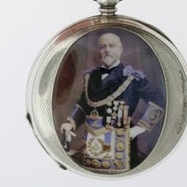 half hunter pw w enamel masonic portrait 1880 pre-owned