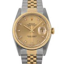 Rolex Datejust Steel & Gold Champagne Diamond Dial, 16233