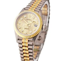 Rolex Used 69179 LADYS TRIDOR PRESIDENT - Champagne Diamond Dial