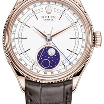 Rolex Cellini Moonphase Oro rosado 39mm Blanco Sin cifras