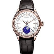 Rolex Cellini Moonphase Ruzicasto zlato 39mm Bjel Bez brojeva