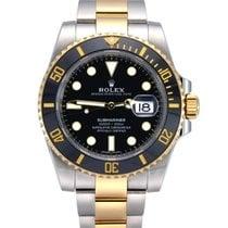 Rolex Submariner Date Acero y oro 40mm Negro Sin cifras