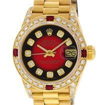 Rolex Yellow gold Automatic Red 26mm pre-owned Lady-Datejust