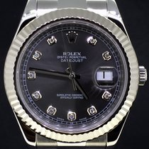 Rolex Datejust II 41MM Steel GreyRhodium Diamond Dial FullSet...