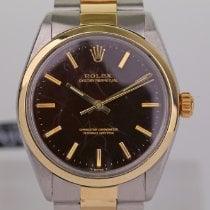 Rolex Oyster Perpetual 34 gebraucht 34mm Schwarz Gold/Stahl