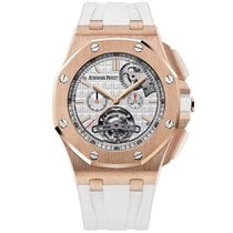Audemars Piguet Royal Oak Offshore Tourbillon Chronograph Or rose 44mm Argent Sans chiffres