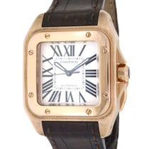 Cartier Santos 100 W20108y1 In Rose Gold & Brown Leather...