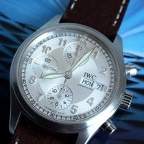 IWC Pilot Chronograph pre-owned 39mm White Chronograph Date Weekday Steel