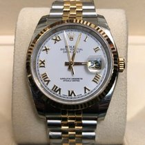 Rolex Datejust 18k Yellow Gold and Steel White Dial Roman Numeral