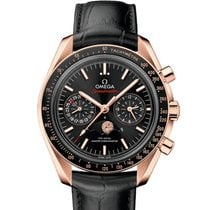 Omega Rose gold Automatic Black 44.25mm new Speedmaster Professional Moonwatch Moonphase
