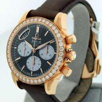 Omega De Ville ladies Chronograph rose gold diamonds chocolate...
