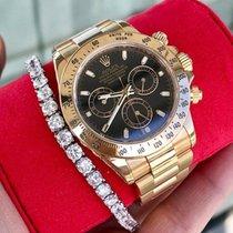 Rolex Daytona 116528 Chrono Yellow Gold Bracelet Black Dial W/...