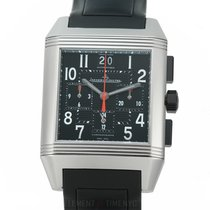 Jaeger-LeCoultre Reverso Squadra Chronograph GMT pre-owned 35mm Black Chronograph Date GMT Rubber