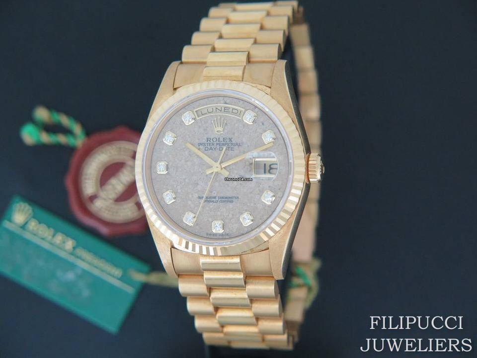 best loved 2e5e4 ad8bf Rolex Day-Date Yellow Gold 18238 N.O.S. Fossil / Jurassic Park / Diamond  Dial