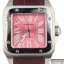 Cartier Santos 100 pre-owned 33mm Pink Leather