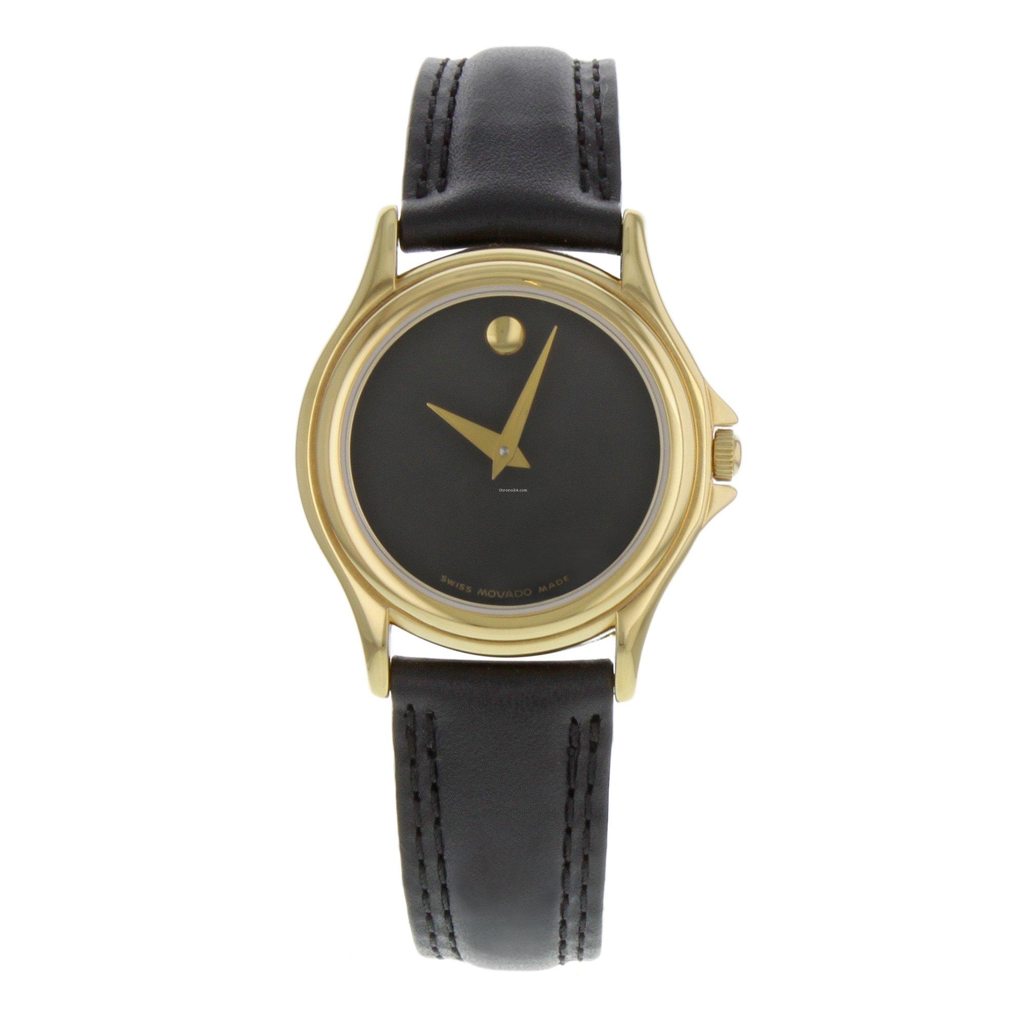 54df5c02e Movado Museum Black Dial Leather Gold Tone Steel Quartz Ladies Watch 690299