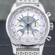 Breitling Transocean Chronograph Unitime Steel 46mm Silver Arabic numerals