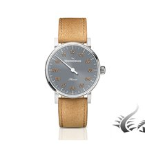 Meistersinger Phanero Automatic Watch, Grey, leather strap