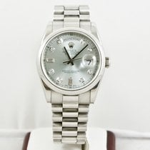 Rolex Platinum Automatic Blue No numerals 36mm pre-owned Day-Date 36