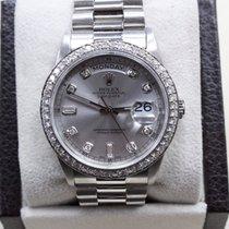 Rolex President Platinum Day Date 18206 Diamond Dial & Diamond...