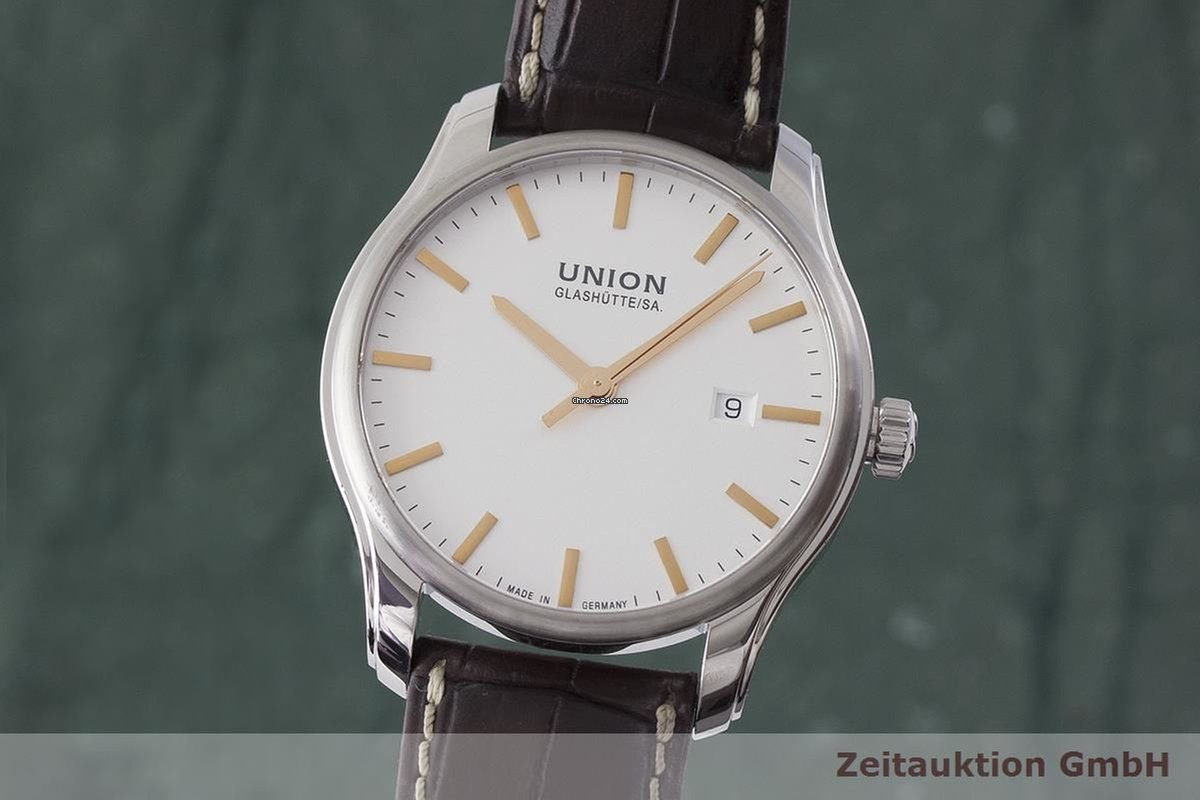 Viro Union Herrenuhr 407a Datum Automatik Stahl RefD001 Glashütte clu35TFKJ1