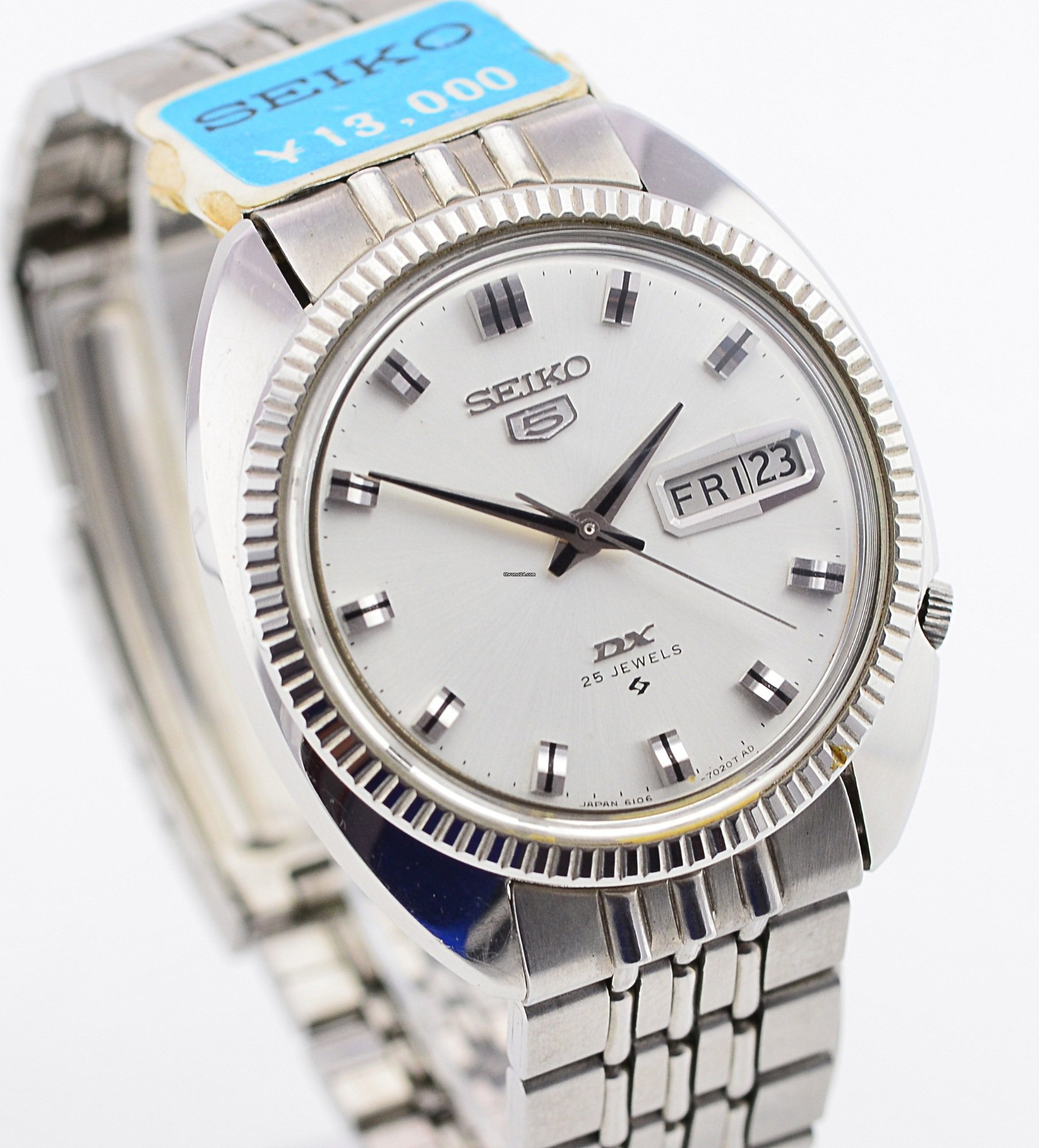 Seiko 5 DX Silver Automatic Watch JDM Fluted Bezel NOS 6106