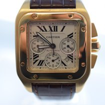 Cartier Santos 100 Chronograph Yellow Gold Brown Croc Strap Mint