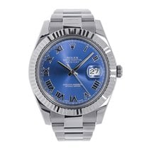 Rolex DATEJUST II 41mm 18K White Gold Bezel Blue Roman Dial...