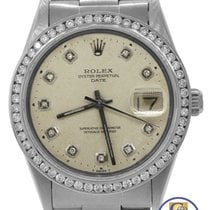Rolex Date 15000 34mm Silver Toned Diamond Stainless Oyster...