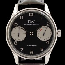 IWC Steel Automatic Black Arabic numerals 42mm pre-owned Portuguese Automatic
