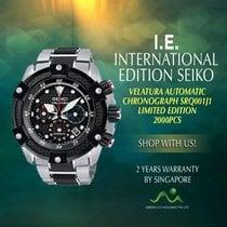 Seiko Steel Automatic Black No numerals new Velatura Chronograph