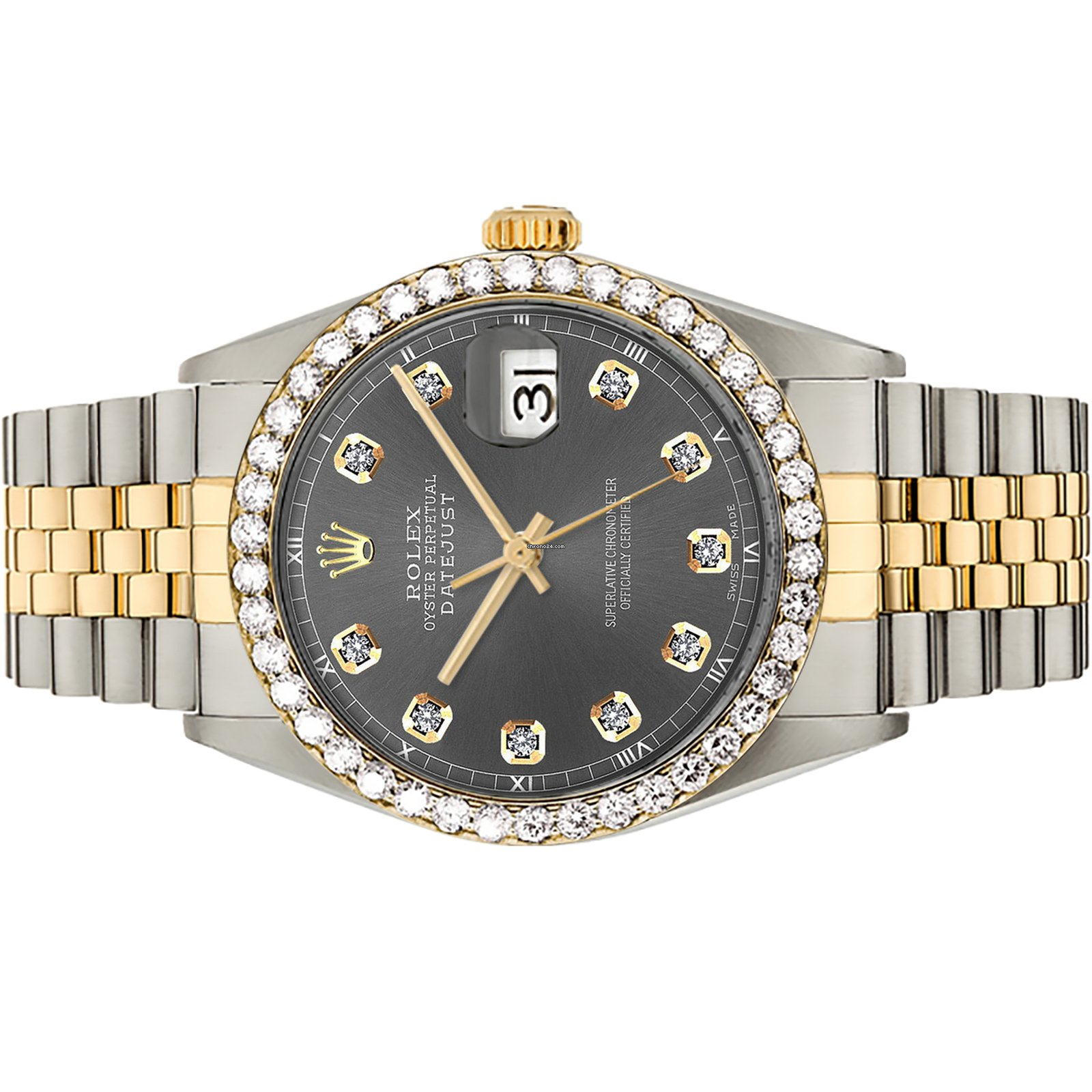 23144441da29 Rolex Diamond Datejust Two-Tone 18K Grey Custom Dial Bezel 36mm en venta  por 5.384 € por parte de un Seller de Chrono24