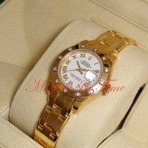 Rolex Oro amarillo Automático Blanco Romanos 29mm nuevo Lady-Datejust Pearlmaster