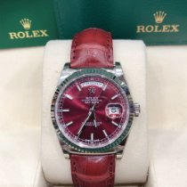 Rolex White gold Automatic Bordeaux No numerals 36mm new Day-Date 36