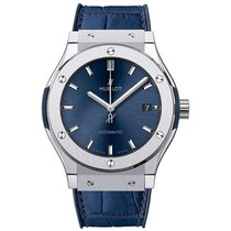 Hublot Classic Fusion 42mm Titanium Blue Leather Strap UNWORN