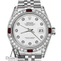 Rolex Сталь Автоподзавод Белый Без цифр 26mm подержанные Lady-Datejust