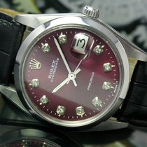 Rolex OysterDate Precision Winding Steel Watch Maroon Dial