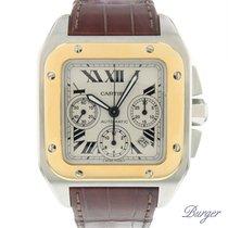Cartier Chronograaf 41mm Automatisch tweedehands Santos 100 Zilver