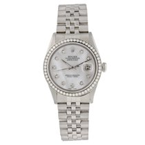 Rolex White gold Automatic Mother of pearl 36mm pre-owned Datejust