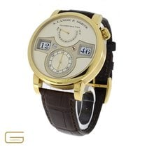 A. Lange & Söhne Yellow gold Manual winding Champagne Arabic numerals 42mm pre-owned Zeitwerk
