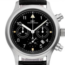 IWC Fliegeruhr Chronograph gebraucht 36mm Schwarz Chronograph Datum Leder