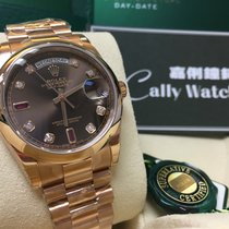 Rolex Cally - 118205 DAY-DATE CHOCO 8 DIAMONDS 2 BAGUETTE RUBIES