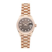 Rolex Rose gold Automatic Brown No numerals 28mm pre-owned Lady-Datejust