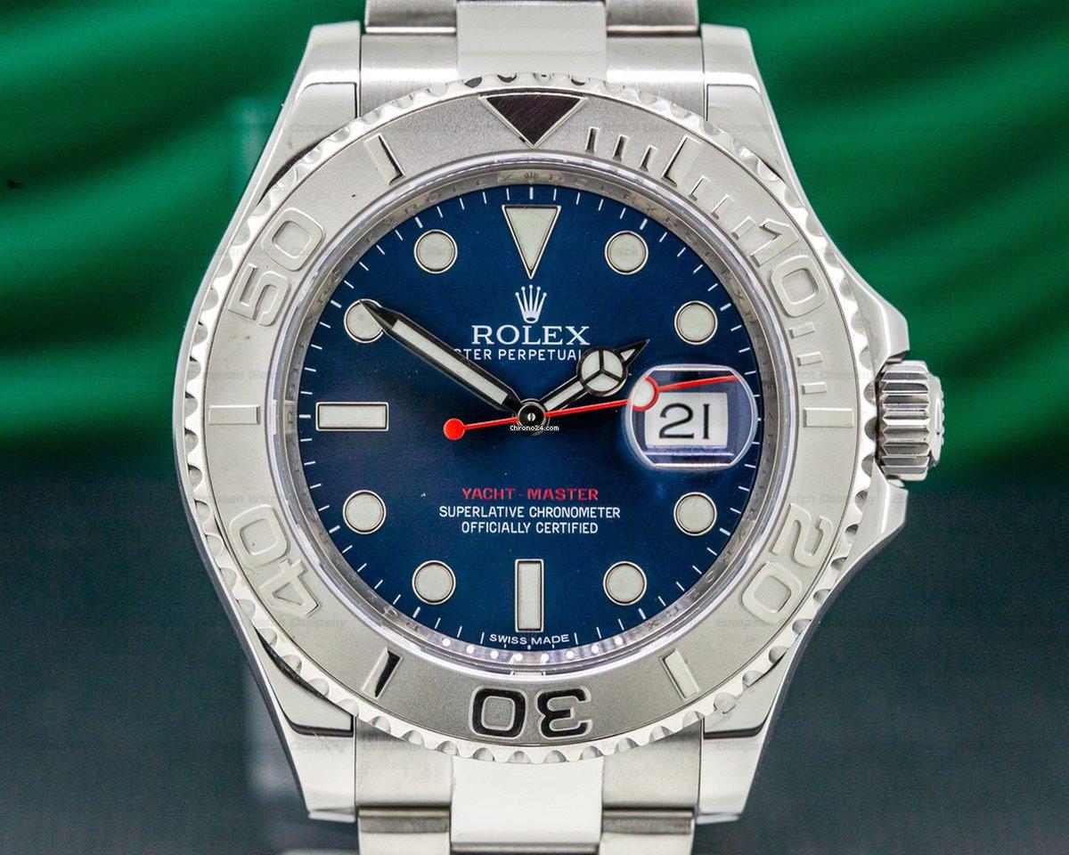 Rolex 116622 Yacht Master Ss Blue Dial Platinum Bezel 32192